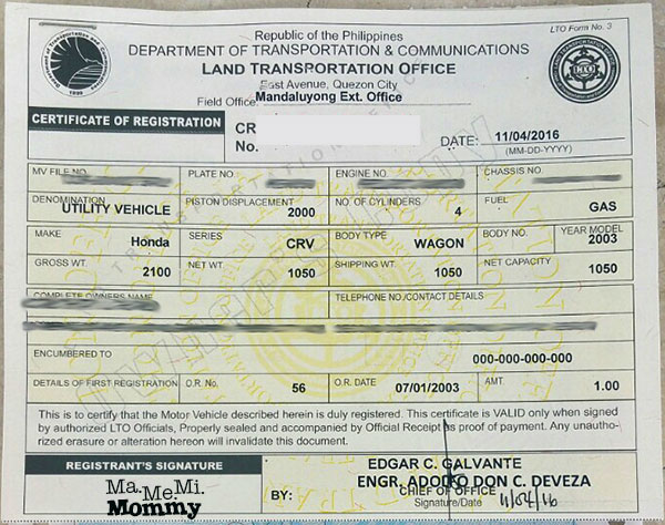 Clean Certificate of Registration