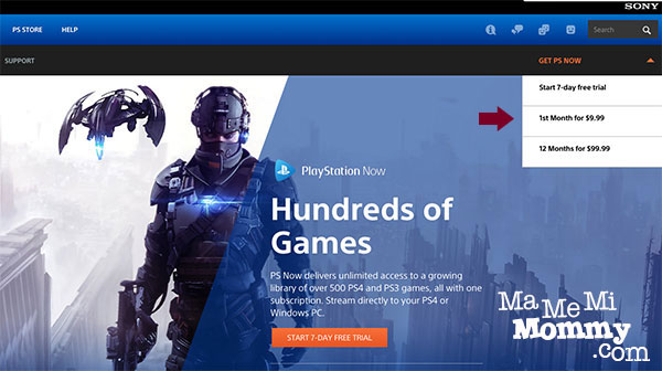 PlayStation Now Main Page